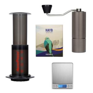 Zestaw młynek Timemore C2, AeroPress, waga i kawa z Gwatemali
